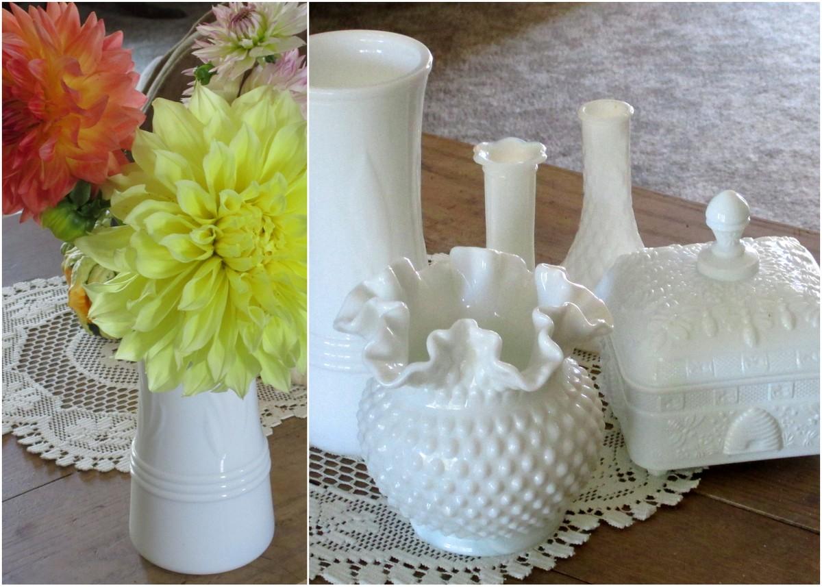 White milk glass pieces