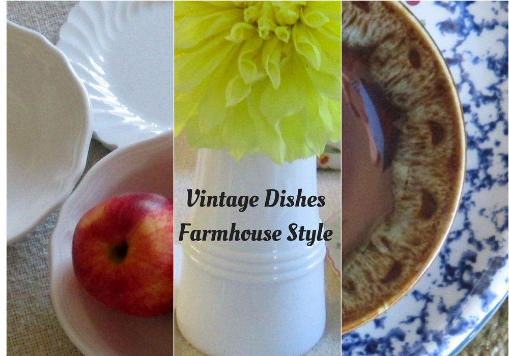 Farmhouse style complementary vintage dishes