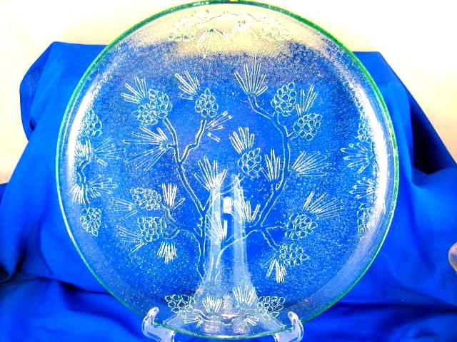 Green glass Ponderosa Pine serving platter