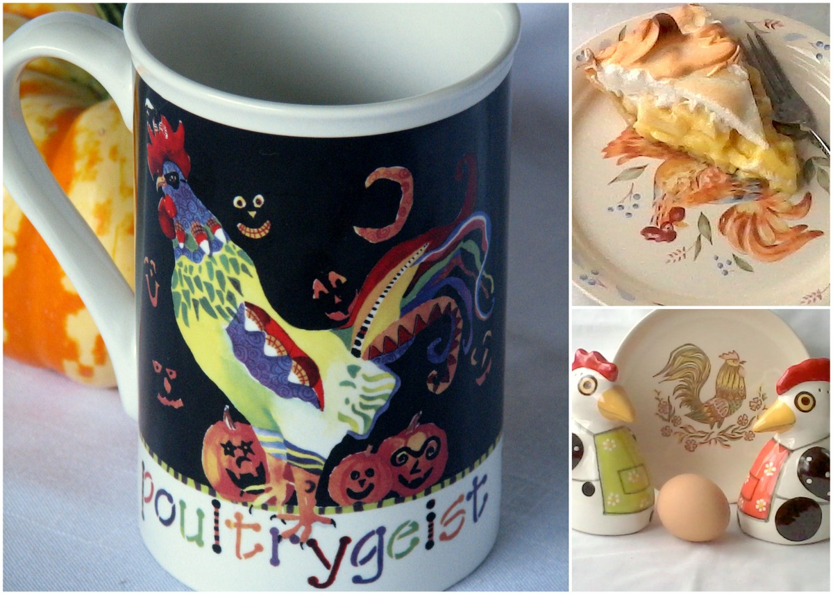 Dishes with chicken designs