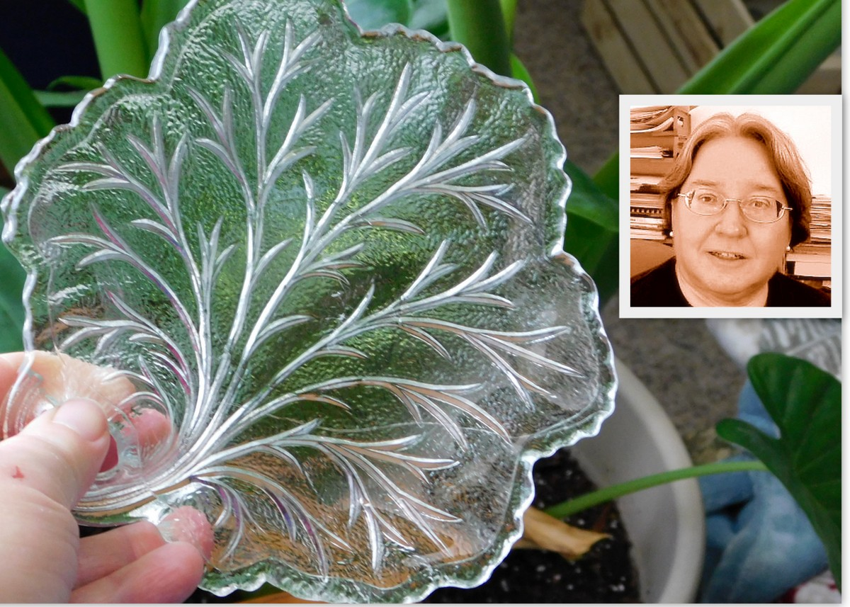 Pebble Leaf by Indiana Glass and the author